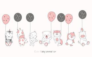 dessin animé mignon bébé animaux avec des ballons sur fond rose. style de bande dessinée dessiné à la main. vecteur