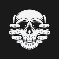 deux mains levant le crâne