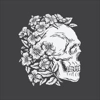 crâne de dessin à la main entouré de fleur rose