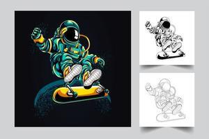 illustration de l'oeuvre de skateboard astronaute vecteur