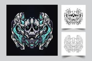 illustration de crâne mecha satan