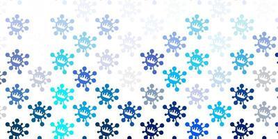 modèle vectoriel bleu clair et vert avec des éléments de coronavirus.