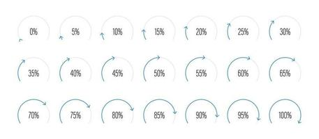 ensemble de diagrammes de pourcentage de secteur circulaire vector illustration