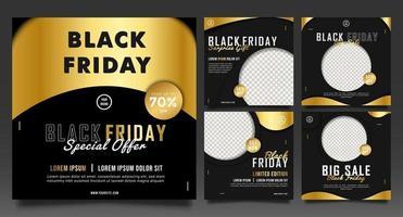 vente de mode vendredi noir pour publication sur les réseaux sociaux. fond noir et or. vecteur