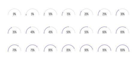ensemble de diagrammes de pourcentage en demi-cercle vector illustration