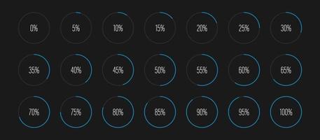 ensemble de diagrammes de pourcentage de cercle vector illustration