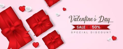 bannière web promotionnelle pour la vente de la Saint-Valentin. belle couleur de fond rose.