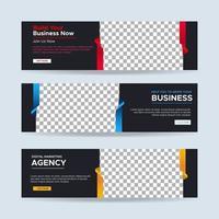 modèle web de bannière de conception abstraite de vecteur. collection de bannière publicitaire commerciale horizontale. illustration vectorielle vecteur