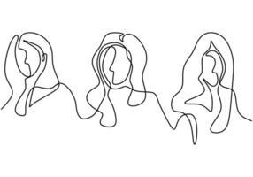 dessin continu d'une ligne d'une diversité de femmes. vecteur
