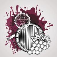 affiche de maison de vin avec tonneau et raisins vecteur