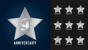 ensemble de numéros de logo anniversaire vecteur