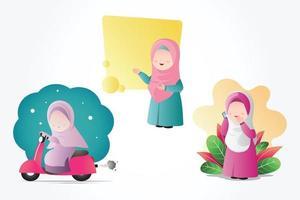 ensemble de fille musulmane hijab vecteur