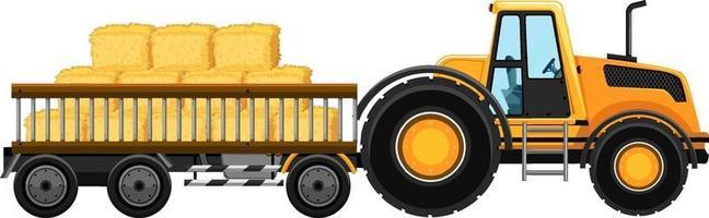 tracteur avec du foin dans le chariot vecteur