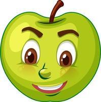 personnage de dessin animé de pomme avec expression faciale