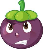 personnage de dessin animé de mangoustan avec expression faciale vecteur