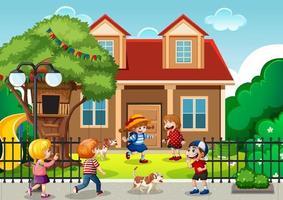 scène en plein air avec de nombreux enfants jouant devant la maison