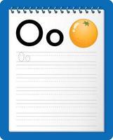 Feuille de calcul de traçage alphabet avec lettre o et o