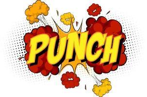mot punch sur fond d'explosion de nuage comique vecteur