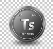 Élément chimique tennessine. symbole chimique avec numéro atomique et masse atomique. vecteur