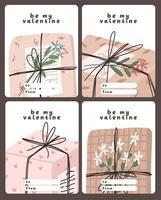 carte de la saint valentin note de dédicace lettre d'amour design plat scandinave mignon vecteur