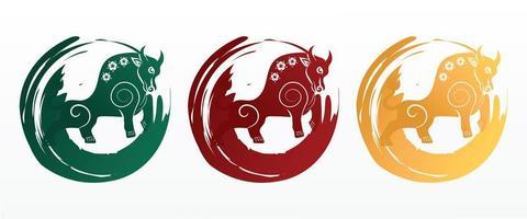 symbole du nouvel an chinois. année du caractère de bœuf, fleurs et éléments asiatiques avec style artisanal vecteur