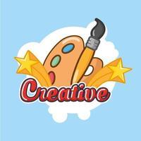 lettrage créatif avec pinceau et palette de couleurs vecteur