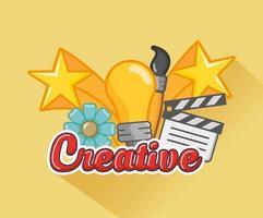 ampoule et icônes des arts créatifs vecteur