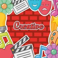 cadre mural créatif avec des icônes vecteur