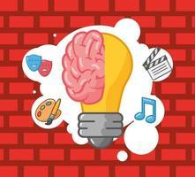 organe cérébral avec ampoule créative vecteur