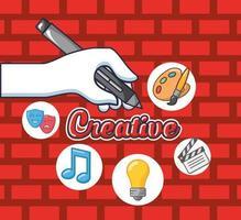 lettrage créatif avec écriture à la main et accessoires vecteur