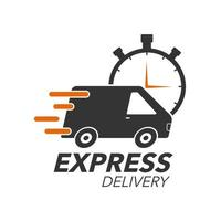 concept d'icône de livraison express. van avec icône de chronomètre pour le service, la commande, l'expédition rapide, gratuite et dans le monde entier. Design moderne.