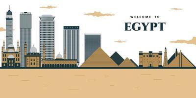 vue futuriste des pyramides et de la ville. paysage panoramique des pyramides des pharaons égyptiens avec mosquée. vecteur
