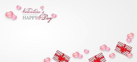ballon coeur bannière joyeux saint valentin avec mini ballon coeur et boîte-cadeau de vecteur. vecteur