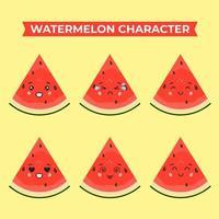 personnages mignons de pastèque avec diverses expressions