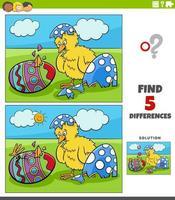 jeu éducatif de différences pour les enfants avec des poussins de Pâques
