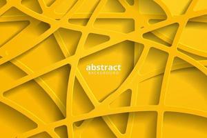 abstrait 3d avec papercut jaune. décoration abstraite réaliste papier découpé texturé vecteur