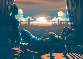 amoureux à l'intérieur de la chambre avec beau coucher de soleil le soir et la silhouette de la ville en arrière-plan vecteur