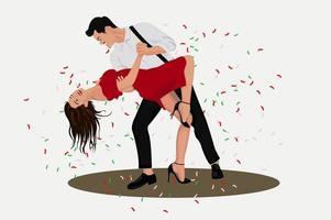 illustration mignonne de soirée dansante vecteur