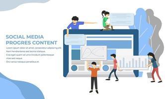 modèle de concept de personnage marketing des médias sociaux, les gens protègent leurs données sur l'illustration vectorielle de l'appareil, peuvent être utilisés pour
