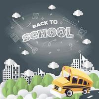 style art papier bus scolaire conduite sur la route vecteur