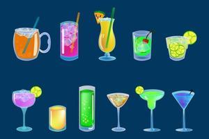 jeu d'icônes de boissons alcoolisées et cocktails vecteur