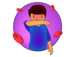 personnage éternue et tousse bien et mal. recommandation médicale comment éternuer correctement. prévention contre les virus et les infections. concept d'hygiène. vecteur