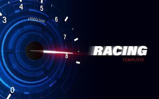 fond de mouvement de vitesse avec voiture de compteur de vitesse rapide. fond de vitesse de course. vecteur