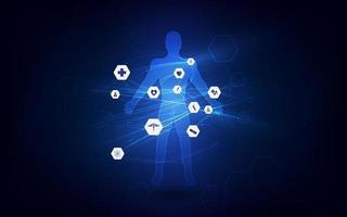 soins de santé médicaux diagnostics du corps humain modèle concept fond design propre vecteur