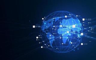 technologie ai, concept de réseau de communication global.