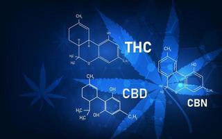 fond de concept médical de structure moléculaire de cannabis vecteur