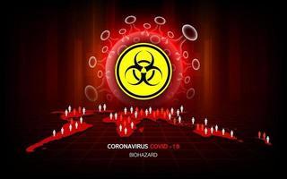 coronavirus maladie covid-19 danger et infection à risque biologique concept de pandémie médicale mondiale. vecteur