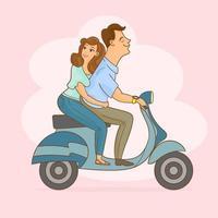 couple à cheval sur une moto rétro vecteur