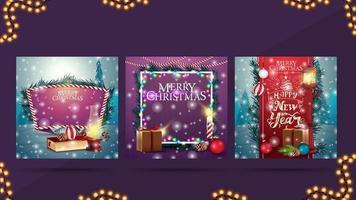 cartes postales de Noël avec des paysages de Noël ou des arrière-plans pour vos arts.