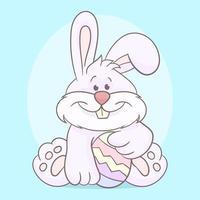 lapin blanc de pâques et oeuf décoré de pâques vecteur